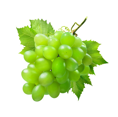 Bunch of green grapes isolated on white background as package design element photo