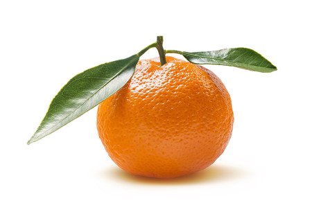 Single orange mandarin with leaves isolated on white background as package design element Stock Photo