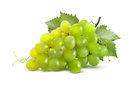 Green grapes horizontal and leaves isolated on white background as package design element