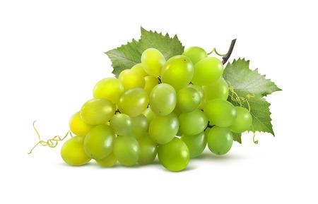 racimos de uvas: Uvas verdes horizontales y hojas aisladas sobre fondo blanco como elemento de dise�o de paquete