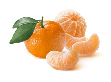 Mandarin with leaf also tangerine and peeled slices group isolated on white background as package design element