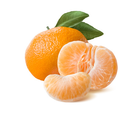 Whole mandarin peeled half and slice isolated on white background as package design element
