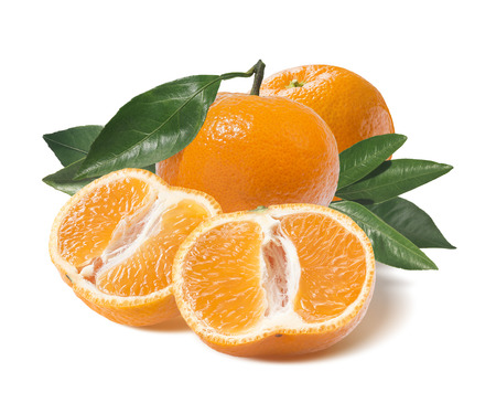 Whole mandarin and one cut half isolated on white background as package design element