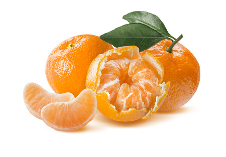 nobilis: Fresh mandarin composition isolated on white background as package design element Stock Photo