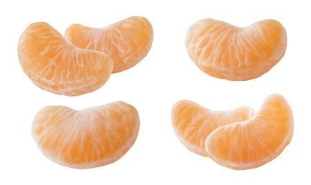 Mandarin tangerine slices set isolated on white background