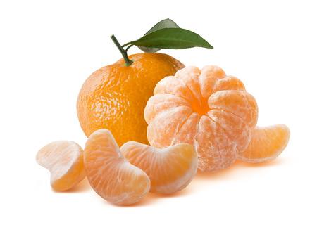 Whole orange mandarins peeled and unpeeled isolated on white background Standard-Bild