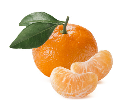 Single orange mandarin tangerine with leaves and slices isolated on white background as package design element