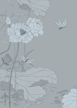 Grey chinese lotus landscape as decoration background