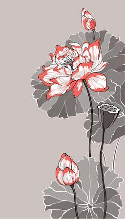 Big white red lotus on grey vector illustration for decoration and design Illustration
