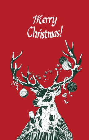 glasse: Christmas new year deer holding champagne glasses for postcards, invitaion, decoration, party banners