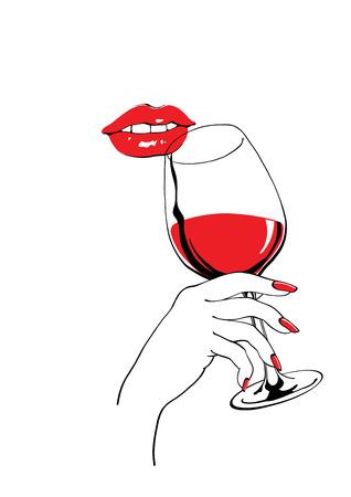파티 포스터 디자인에 대한 진정 빨간 입술과 와인 손을 잡고 벡터 일러스트 레이 션의 유리