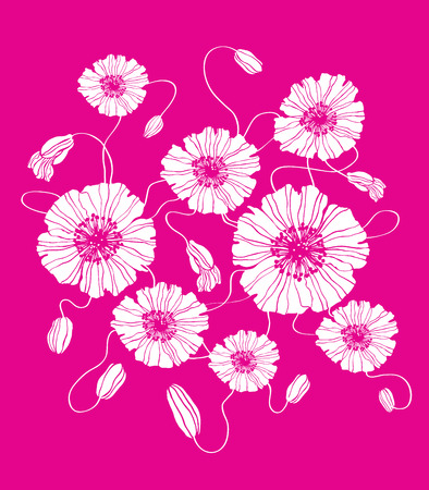 Field flowers poppies purple pink square illustration as background Illustration