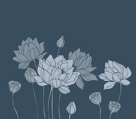 flor de loto: Vector loto simple en negro horizontal fondo para la decoración