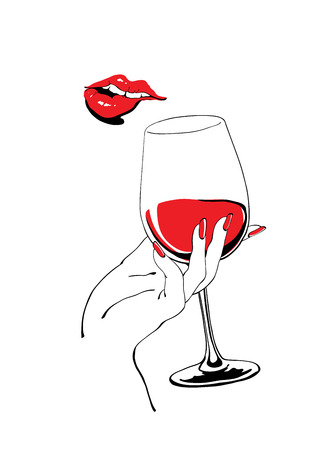Playful red lips and glass of wine holding hand vector illustration for party poster design Çizim