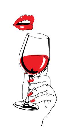 Parlando labbra rosse e bicchiere di mano un'azienda vinicola come partito retrò manifesto elemento di design Archivio Fotografico - 36959953