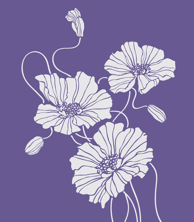 Field flower vector blue square for decoration