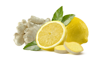Lemon and ginger whole slices composition isolated on white background as package design element