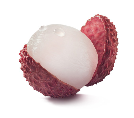 lychee: Single open lychee isolated on white background as package design element Stock Photo