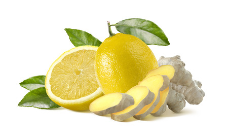 Lemon and ginger pieces isolated on white background as package design element healthy food Standard-Bild