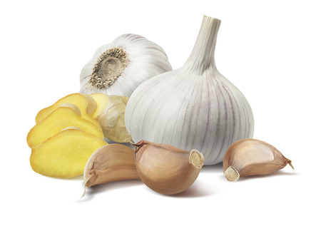 Ginger garlic composition isolated on white background as package design element