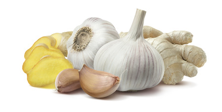 Ginger garlic horizontal composition isolated on white background as package design element