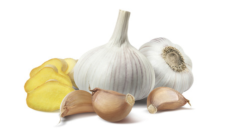 compostion: Ginger pieces garlic compostion isolated on white background as package design element