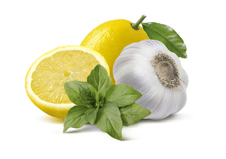 Lemon garlic basil pesto ingredients isolated on white background as package design elements