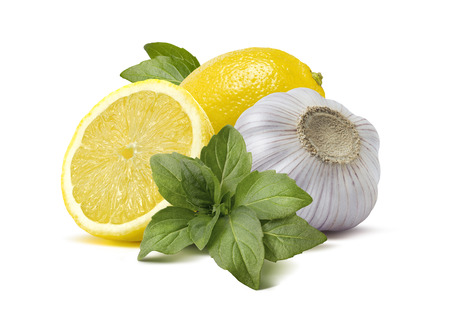 Lemon garlic basil pesto cooking ingredients 2 isolated on white background as package and poster design elements Archivio Fotografico