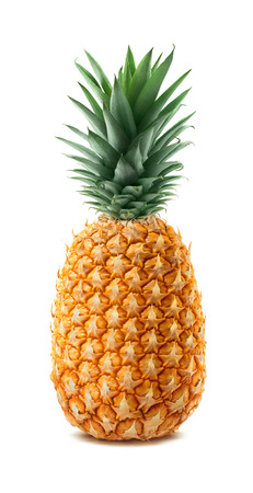 Whole single pineapple isolated on white background as package design element