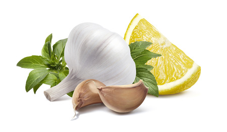 Garlic head lemon basil isolated on white background as package design element Stock Photo