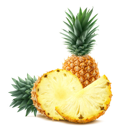 Pineapple and pieces isolated on white background as package and poster design element Banco de Imagens