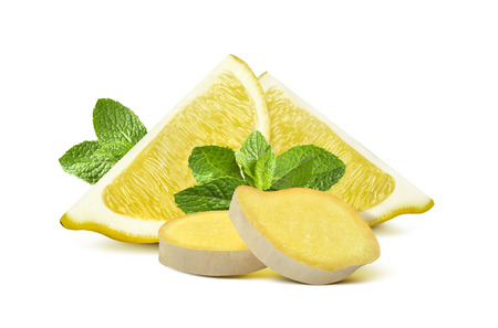 Ginger root, lemon quarters, mint leaves compact group isolated on white background as package  and poster design element photo