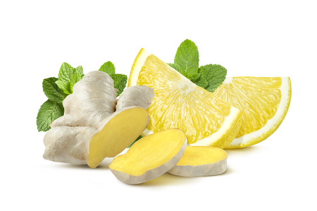 Ginger root, lemon quarters, mint leaves isolated on white background as package design element
