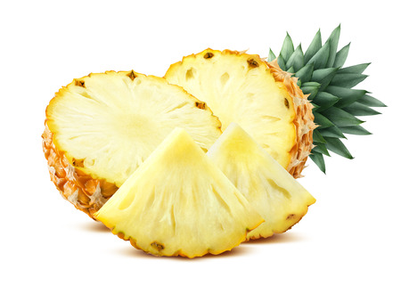Pineapple pieces isolated on white background flat composition as package design element