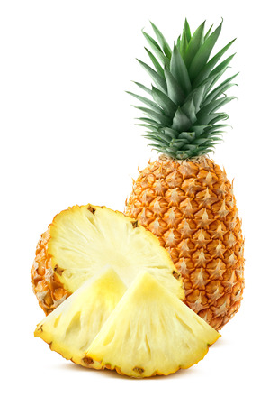 Pineapple, half and quarter pieces isolated on white background as package design element