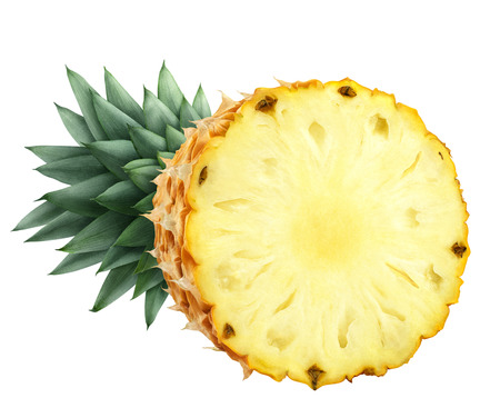 Pineapple cut half isolated on white background as package design element Stock Photo