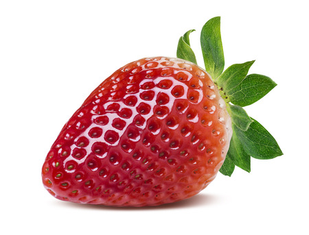 Single perfect strawberry isolated on white background as package design element