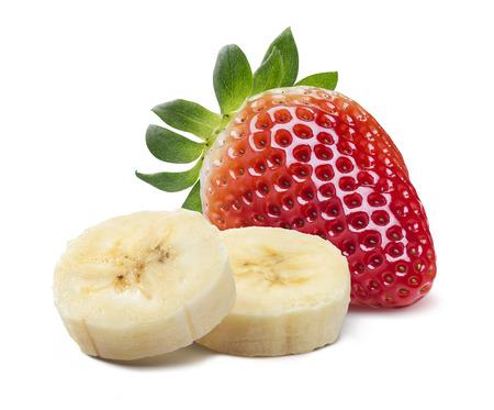 platano maduro: Soltero fresa y plátano piezas aisladas sobre fondo blanco como elemento de diseño de paquete Foto de archivo