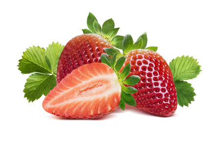 two and a half: Two strawberries, half berry and leaves 2 isolated on white background as package design element Stock Photo
