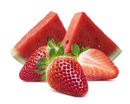 Watermelon slices and strawberry isolated on white background as package design element