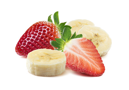 Whole and half strawberry, banana pieces square composition isolated on white as package design element