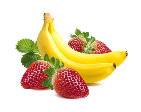 banana: Two bananas strawberry square composition isolated on white background as package design element Stock Photo