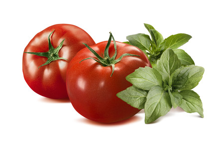 Whole red tomato and basil isolated on white background as package design element