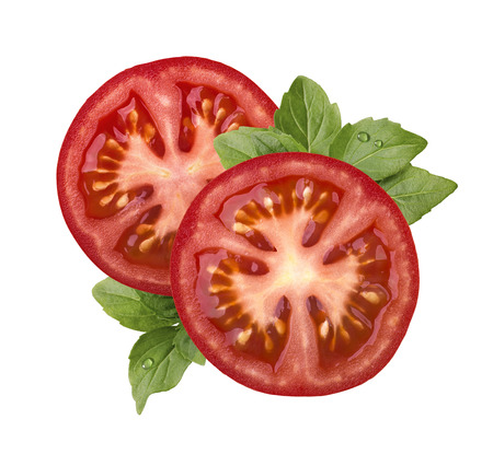 Tomato slice and basil isolated on white background as package design element