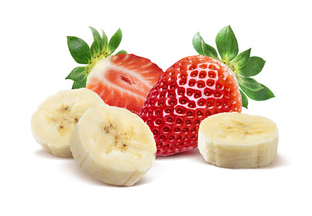 Whole strawberry, half and banana pieces 3 isolated on white background as package design element Standard-Bild