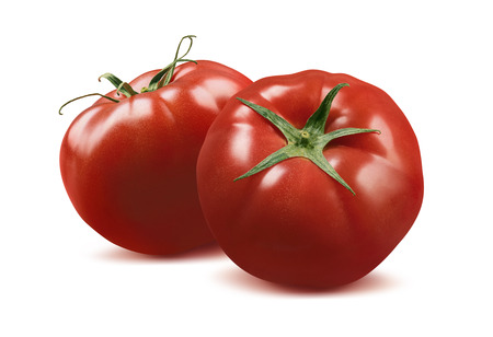 Double whole tomatoes isolated on white background as package design element