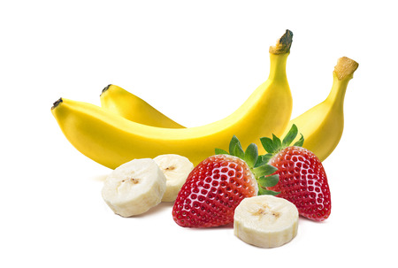 Whole bananas and strawberry composition isolated on white background as package design element