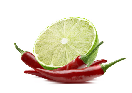 thai chili pepper: Lime cut and chili isolated on white background as package design element