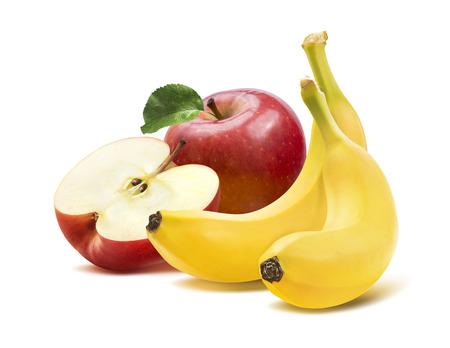 platano maduro: Pl�tano y manzanas composici�n de la plaza 2 aislado sobre fondo blanco como elemento de dise�o de paquete Foto de archivo