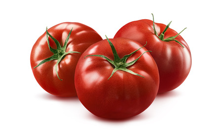 3 tomato horizontal composition isolated on white background as package design element Stock Photo